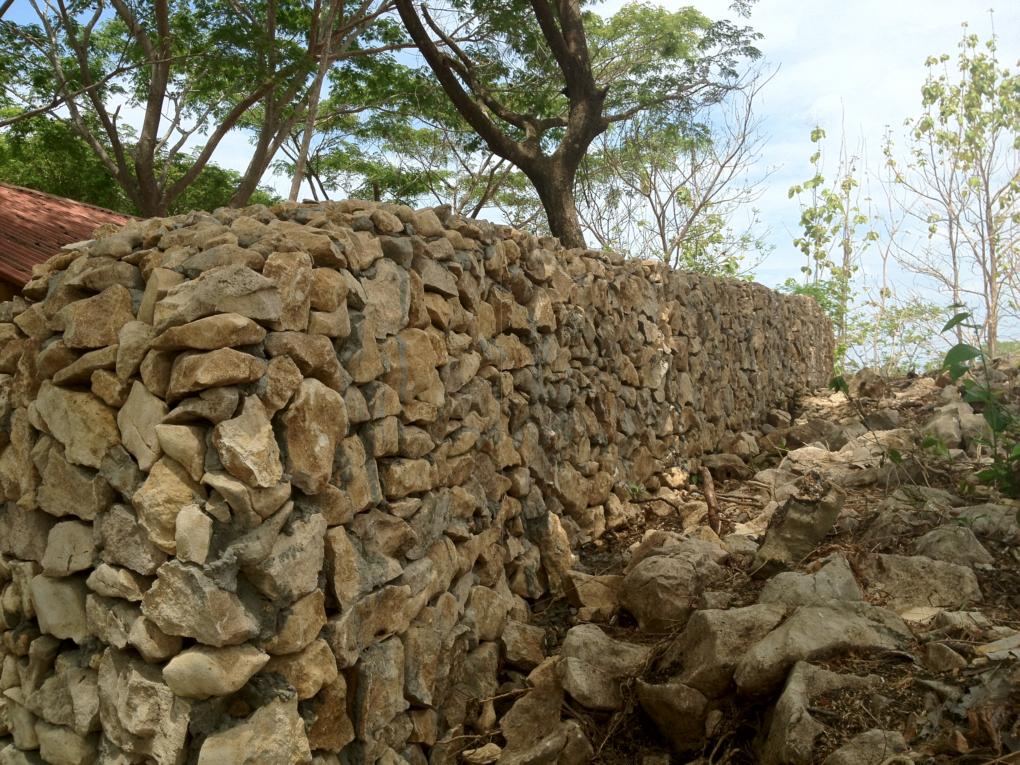 hand crafted natural stone wall